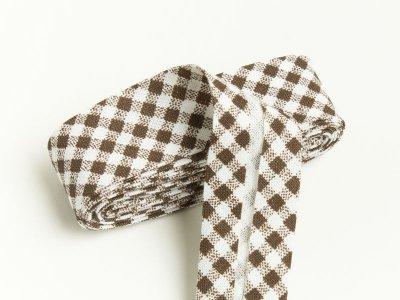 Baumwoll Schrägband gefalzt 20 mm x 2 m kariert - braun