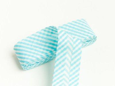 Baumwoll Schrägband gefalzt 20 mm x 2 m diagonal gestreift - türkis