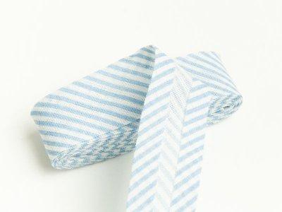 Baumwoll Schrägband gefalzt 20 mm x 2 m diagonal gestreift - helles blau