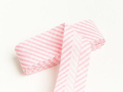 Baumwoll Schrägband gefalzt 20 mm x 2 m diagonal gestreift - rosa