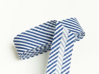 Baumwoll Schrägband gefalzt 20 mm x 2 m diagonal gestreift - dunkles blau