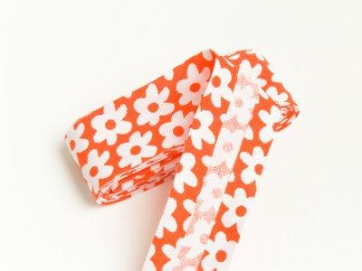 Baumwoll Schrägband gefalzt 20 mm x 2 m Blüten orange