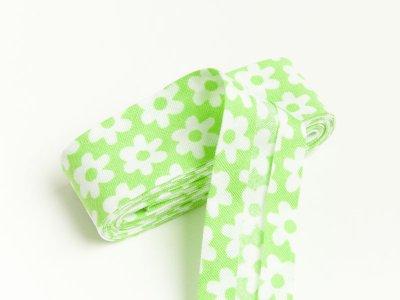 Baumwoll Schrägband gefalzt 20 mm x 2 m Blüten grün