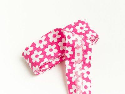 Baumwoll Schrägband gefalzt 20 mm x 2 m Blüten pink
