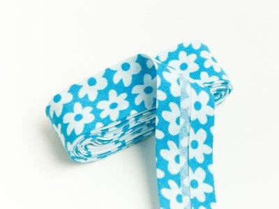 Baumwoll Schrägband gefalzt 20 mm x 2 m Blüten blau
