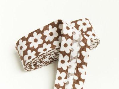 Baumwoll Schrägband gefalzt 20 mm x 2 m Blüten braun