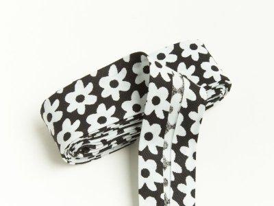 Baumwoll Schrägband gefalzt 20 mm x 2 m Blüten schwarz