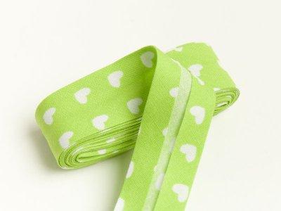 Baumwoll Schrägband gefalzt 20 mm x 2 m Herzchen grün