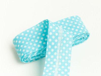 Baumwoll Schrägband gefalzt 20 mm x 2 m mini Dots mint