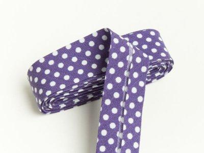 Baumwoll Schrägband gefalzt 20 mm x 2 m Dots violett
