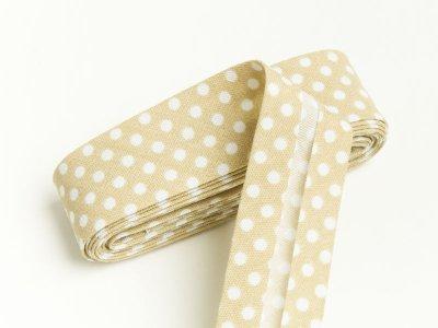 Baumwoll Schrägband gefalzt 20 mm x 2 m Dots beige