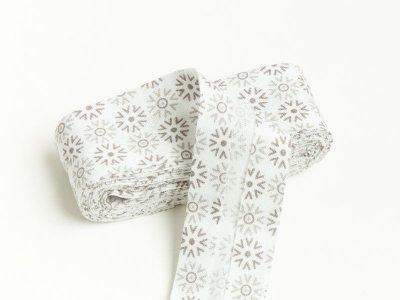 Baumwoll Schrägband gefalzt 20 mm x 2 m Blumenornament - weiß