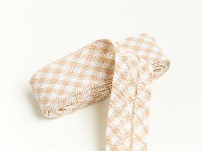 Baumwoll Schrägband gefalzt 20 mm x 2 m kariert - beige