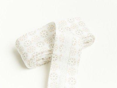 Baumwoll Schrägband gefalzt 20 mm x 2 m Blumenornament - creme