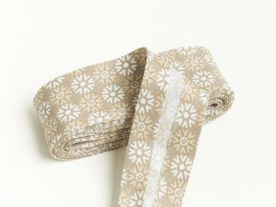 Baumwoll Schrägband gefalzt 20 mm x 2 m Blumenornament - helles braun