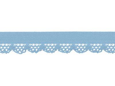 Elastisches Gummiband 12 mm - Spitzenborde - babyblau