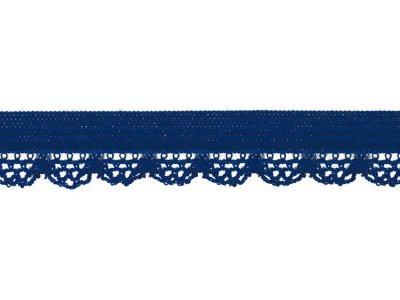 Elastisches Gummiband 12 mm - Spitzenborde - kobaltblau