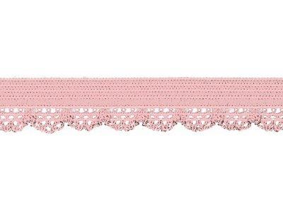 Elastisches Gummiband 12 mm - Spitzenborde - rosa