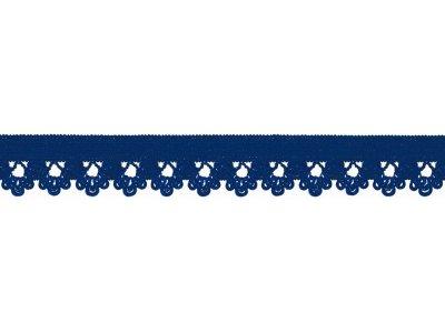 Elastisches Gummiband 13 mm - Spitzenborde - kobaltblau