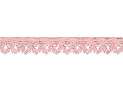 Elastisches Gummiband 13 mm - Spitzenborde - rosa