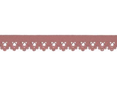 Elastisches Gummiband 13 mm - Spitzenborde - altrosa