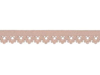 Elastisches Gummiband 13 mm - Spitzenborde - puderrosa
