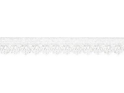 Elastisches Gummiband 13 mm - Spitzenborde - weiß