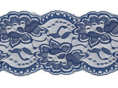 Elastische Spitze 100 mm - Blumen - kobaltblau