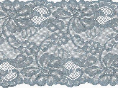 Elastische Spitze 150 mm - Blumen - taubenblau