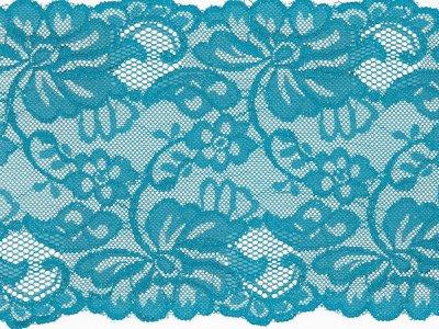 Elastische Spitze 150 mm - Blumen - türkis