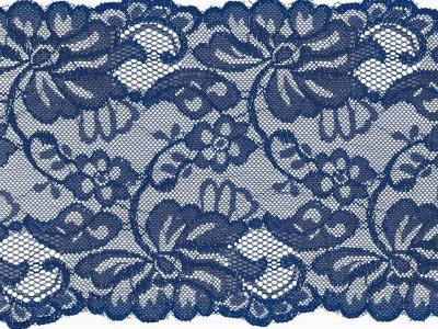 Elastische Spitze 150 mm - Blumen - kobaltblau