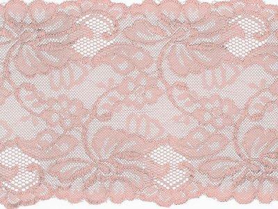 Elastische Spitze 150 mm - Blumen - babyrosa