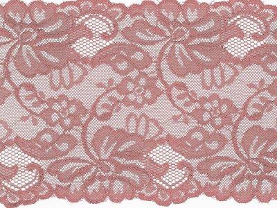 Elastische Spitze 150 mm - Blumen - altrosa