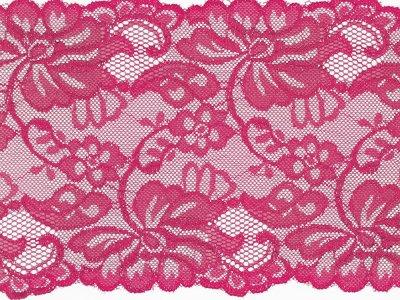 Elastische Spitze 150 mm - Blumen - fuchsia