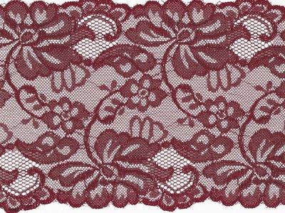 Elastische Spitze 150 mm - Blumen - bordeaux