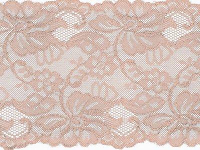Elastische Spitze 150 mm - Blumen - puderrosa
