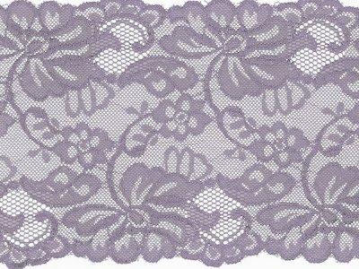 Elastische Spitze 150 mm - Blumen - lila