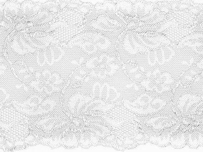 Elastische Spitze 150 mm - Blumen - weiß