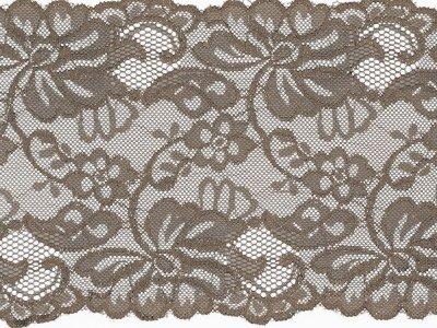 Elastische Spitze 150 mm - Blumen - taupe