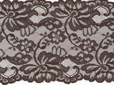 Elastische Spitze 150 mm - Blumen - braun
