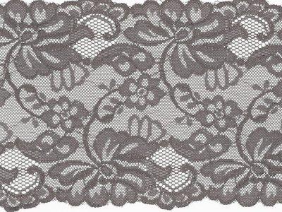 Elastische Spitze 150 mm - Blumen - grau