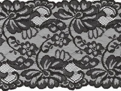 Elastische Spitze 150 mm - Blumen - schwarz