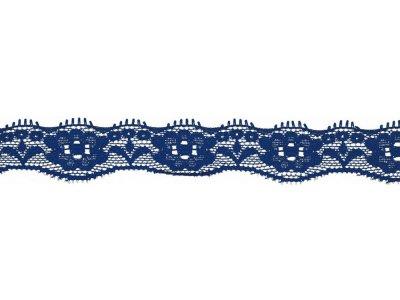 Elastische Spitze 20 mm - Blumen - kobaltblau