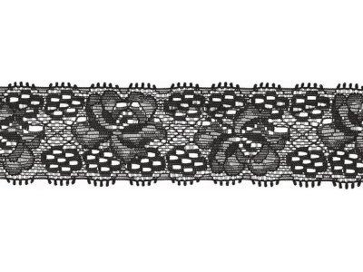 Elastische Spitze 30 mm - Blumen - marine