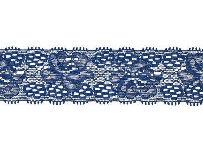 Elastische Spitze 30 mm - Blumen - kobaltblau