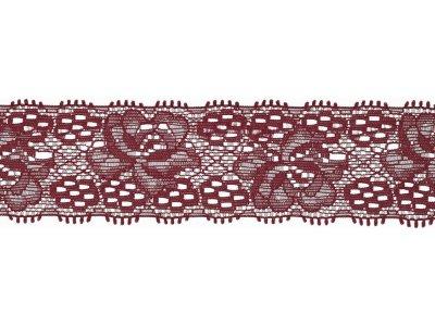 Elastische Spitze 30 mm - Blumen - bordeaux