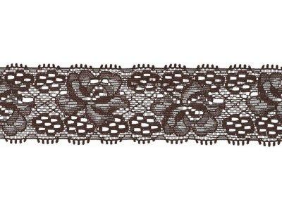 Elastische Spitze 30 mm - Blumen - braun