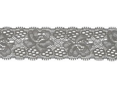 Elastische Spitze 30 mm - Blumen - grau