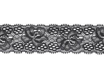 Elastische Spitze 30 mm - Blumen - schwarz