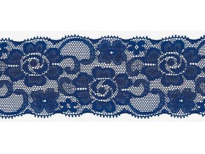 Elastische Spitze 50 mm - Blumen - kobaltblau